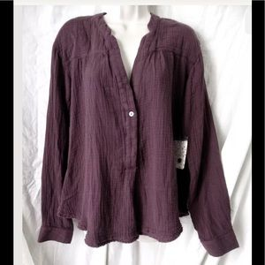 Free People LS V Neck 100% Cotton Eggplant Tunic